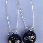 Starry Night Black and Gold Sterling Silver  Fused Glass Long Danglies Earrings