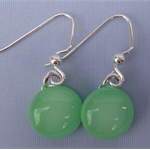 Fused Glass Danglies Earrings ~ Mint Green ~ Sterling Silver