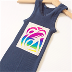 Brightly Coloured Kids Singlets, Screen printed Fluro Geo Feather Design, size 1