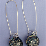 Salmon Crackle Sterling Silver  Fused Glass Long Danglies Earrings