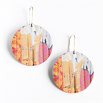 Disc Earrings - Pink and yellow