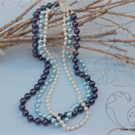 Swarovski white & blue pearls, Sterling Silver, necklace