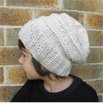Custom colour hat toddler child slouch winter beanie handknit cream boy girl