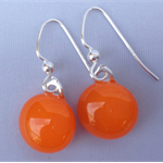 Fused Glass Danglies Earrings ~ Orange ~ Sterling Silver