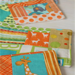 Postcard game - fabric postcards, stamps and pen in mail bag - animals