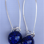 Blue Crackle Sterling Silver  Fused Glass Long Danglies Earrings