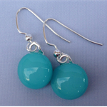 Fused Glass Danglies Earrings ~ Turquoise ~ Sterling Silver