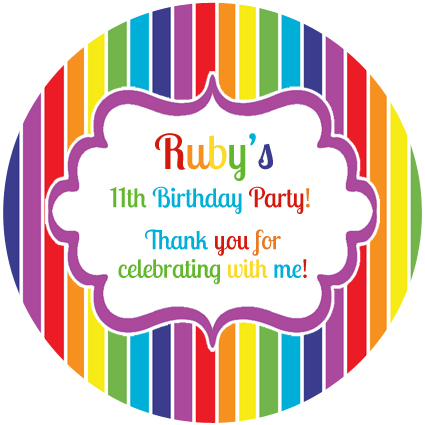 Personalised kids rainbow stripe birthday party stickers favours sticker