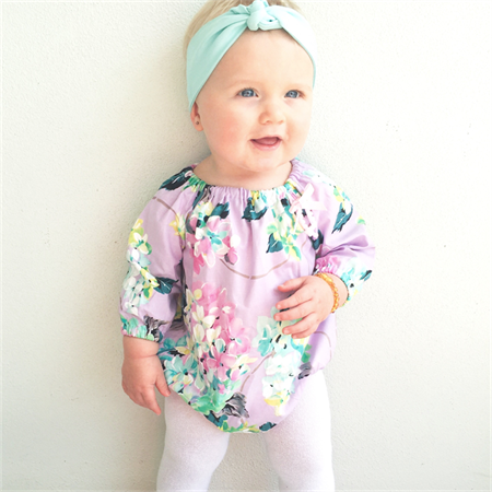 81ed6cad1 Size 1 Lilac Floral Long Sleeved Baby Girl Playsuit - romper