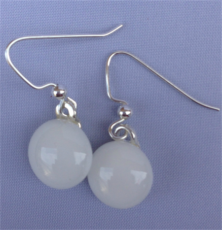 Fused Glass Danglies Earrings ~ White ~ Sterling Silver