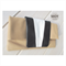 Caramel Leather fold over clutch with black and white detail