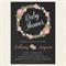 Girl Baby Shower Invitation Floral Wreath Flower Chalkboard