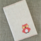 Owl, cross-stitched notebook cover + insert, coral, linen