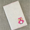 Owl, cross-stitched notebook cover + insert, hot pink, linen