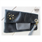Black Leather fold over clutch with wrist strap