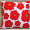 """Red Poppies Tea Towel Cushion Cover 16"""" 