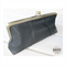 Black leather clasp clutch