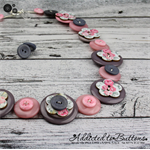 Vintage Pink and Grey Roses - Button Necklace - Button Jewellery with Earrings