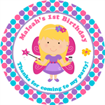 Personalised kids fairy fairies birthday sticker stickers favours favour