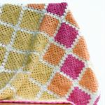 Crochet Baby Blanket Granny Square - 100% Wool - Lemon, Tangerine and Watermelon