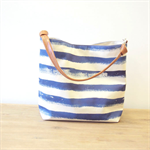 Nautical/ navy bucket bag/ beach tote bag/watercolor stripes/vegan leather