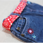child belt - summer poppies / red flowers / girl 4-8 years