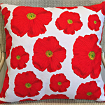 Red Poppies Tea Towel Cushion Cover 16"