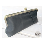Black leather clasp clutch