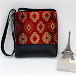 Messenger Mini Red Gold Diamond pattern with Black Faux Leather vinyl