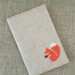 Cross-stitched notebook cover + insert, squirrel,  aqua, forest, linen