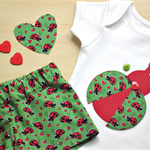 Lady Bug onesie and shorts set, two piece set