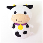 Moo Cow Rattle Toy White Black Purple