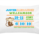 Unique personalised baby birth announcement pillowcase pillowcases gift gifts
