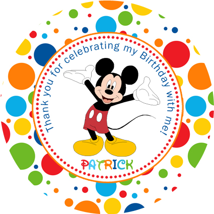 Personalised kids mickey mouse birthday party sticker stickers favours favour