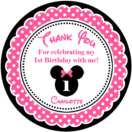 Personalised kids girls minnie mouse birthday party sticker stickers favours