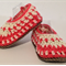 Crochet Baby Galilee Booties - White and peachy-red. Fits 18 - 24 months