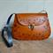 Rich cognac brown floral vines tooled leather bag handbag