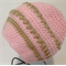 Pink and Beige Baby Hat/Beanie/Souch Hat. Fits 6 - 9 months