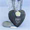 Love Heart Necklace, in Antique Silver with Rose Flower & Swarovski Crystals
