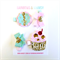 Birthday Cupcake Bow Clip Set - Pink - Gold Glitter - Mint - Gift Set