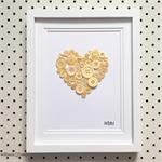 Hand-stitched Artwork - Yellow Love Heart Button Art