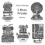 Five Mini Prints Set by Curly Jo Design