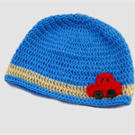 baby boy crochet beanie | blue with red car | toddler | gift | 3 – 18+ months