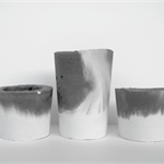 Concrete Trio - Three Candle Holders - Two Tone