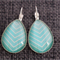 Turquoise and White ~ Teardrop Earrings
