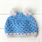 pom pom beanie | crochet | baby boy | blue grey