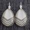 White Wash and Grey~ Teardrop Earrings