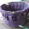 Ribbed basket crocheted from 100% cotton.  purple, yellow and green