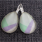 Lilac, Green and White ~Oval Lever Back Earrings