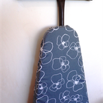 Ironing Board Cover - large white flowers on grey background